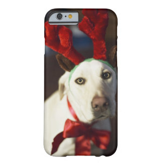 Dog wearing reindeer antlers barely there iPhone 6 case