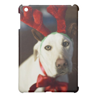 Dog wearing reindeer antlers cover for the iPad mini