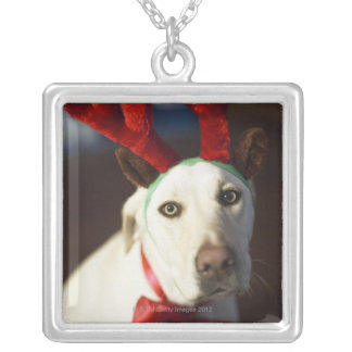Dog wearing reindeer antlers silver plated necklace