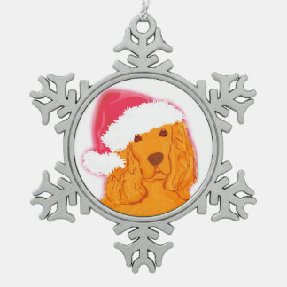 Dog Wearing Santa Hat Decoration Pewter Snowflake Decoration