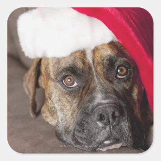 Dog wearing Santa hat Square Sticker