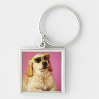 Dog wearing sunglasses 2 Silver-Colored square key ring