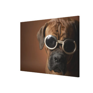 Dog wearing sunglasses 3 canvas print