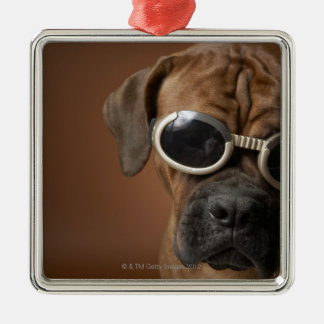 Dog wearing sunglasses 3 christmas ornament