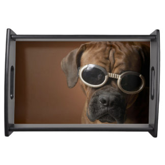 Dog wearing sunglasses 3 serving tray