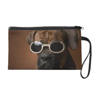 Dog wearing sunglasses wristlet purses