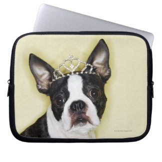 Dog wearing tiara laptop sleeve