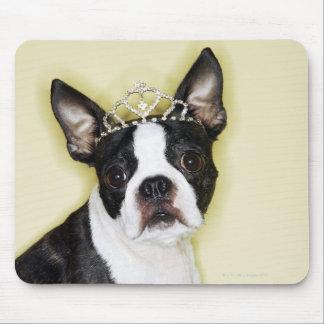 Dog wearing tiara mouse pad
