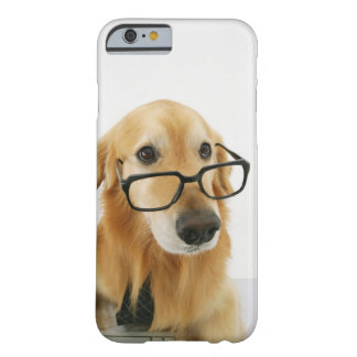 Dog wearing  tie and glasses sitting on chair in barely there iPhone 6 case