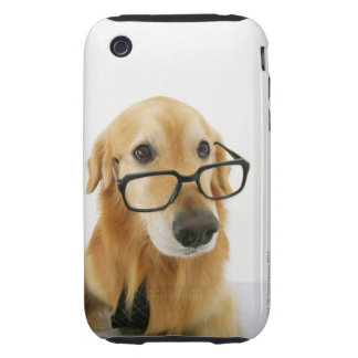 Dog wearing  tie and glasses sitting on chair in tough iPhone 3 covers