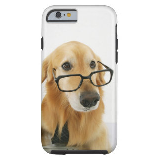 Dog wearing  tie and glasses sitting on chair in tough iPhone 6 case
