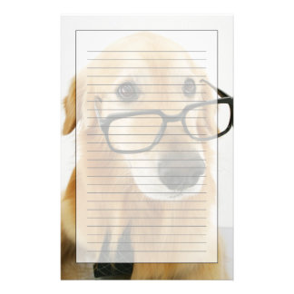 Dog wearing  tie and glasses sitting on chair stationery