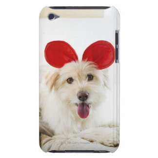 Dog wearing toy ears on bed iPod touch Case-Mate case