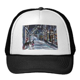Dog Winter Xmas holiday scene Hat