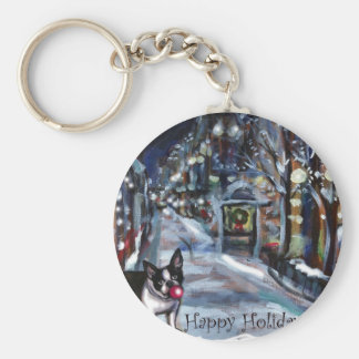 Dog Winter Xmas holiday scene Key Chain