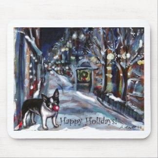Dog Winter Xmas holiday scene Mouse Pads