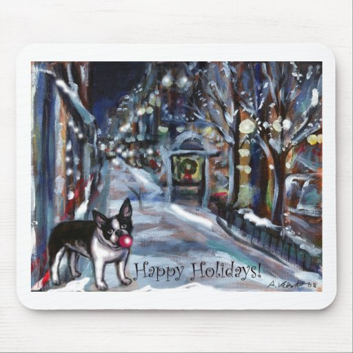 Dog Winter Xmas holiday scene Mouse Pads