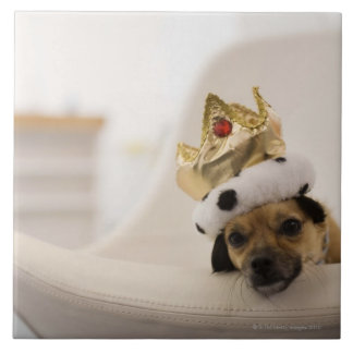 Dog with a crown large square tile