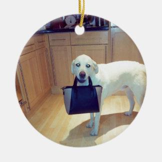 Dog with a handbag round ceramic decoration