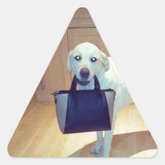 Dog with a handbag triangle sticker