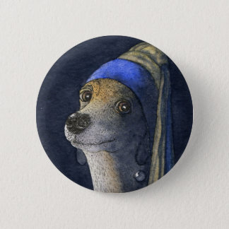 Dog with a pearl earring 6 cm round badge