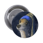 Dog with a pearl earring buttons