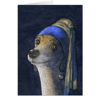 Dog with a pearl earring card