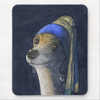 Dog with a pearl earring mouse mat