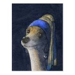Dog with a pearl earring postcard