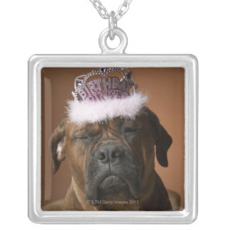 Dog with birthday crown on head silver plated necklace