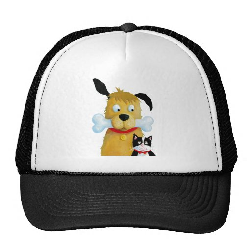 Dog with Bone & Cat Cap Hats