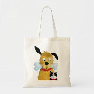 Dog with Bone & Cat Fun farrowed Bag