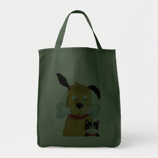 Dog with Bone & Cat Fun farrowed Bags