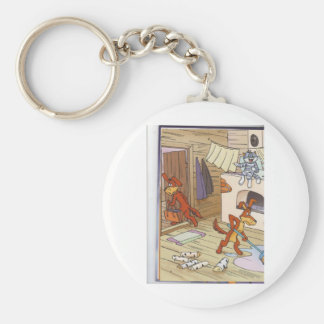 dog with cat fany pic basic round button key ring