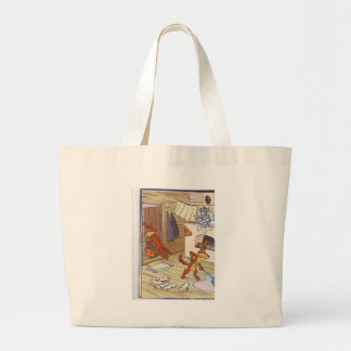 dog with cat fany pic jumbo tote bag