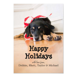 Dog with Christmas ribbons Card