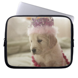 Dog with decorations on bed laptop sleeve
