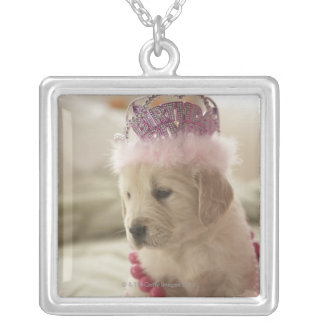 Dog with decorations on bed silver plated necklace