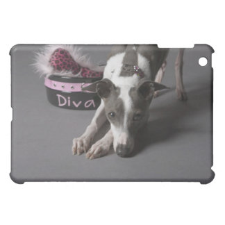 Dog with diva bowl, sniffing floor iPad mini cover