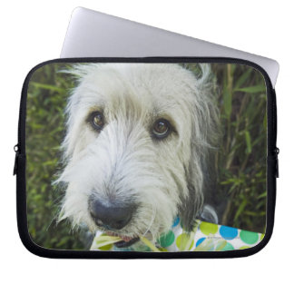 Dog with gift in mouth laptop sleeve