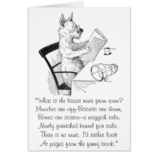 Dog With Glasses Reads the Paper Greeting Card