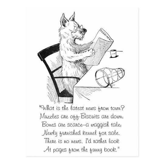 Dog With Glasses Reads the Paper Postcard