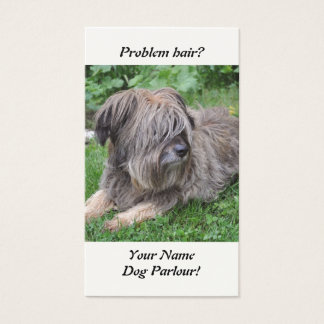 Dog with hair over it's eyes business card