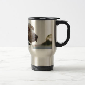 Dog with head out of a car window coffee mugs