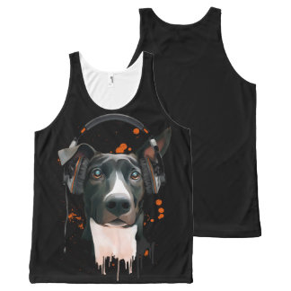 Dog with headphones. music lover All-Over print tank top