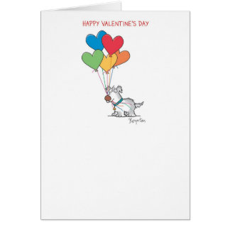 DOG WITH HEART BALLOONS Valentines by Boynton Greeting Card