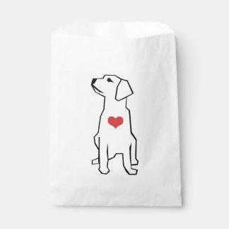 Dog with Heart Illustration Favor Bag Favour Bags