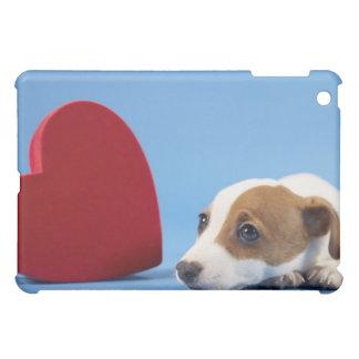 Dog with heart iPad mini cases