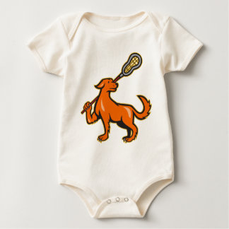 Dog With Lacrosse Stick Side View Baby Bodysuit