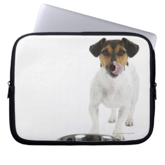Dog with Large Bowl Laptop Computer Sleeves